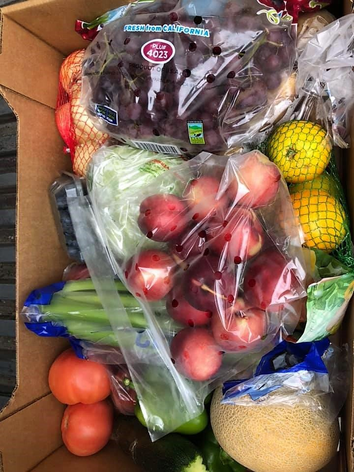 One of 880 boxes of fresh produce SafeHaven Now donated during the LR Community Backpack Drive