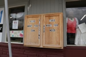 """The """"blessing-box"""" cabinet on the outside of one location"""